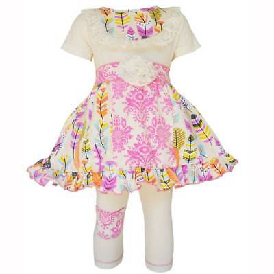 Damask Baby Girl Clothes (AnnLoren Girls Pink Feather & Damask Panel Dress Set  2/3T)