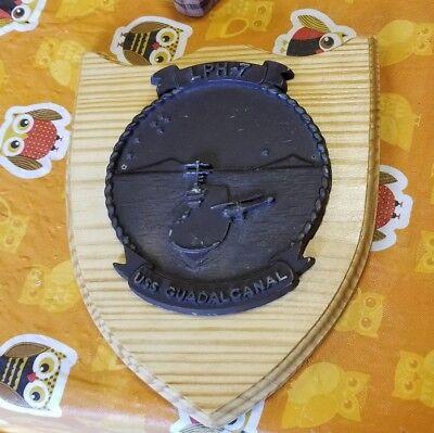 Rare US Navy USS Guadalcanal LPH-7 Cast resin 9 x 11 plaque