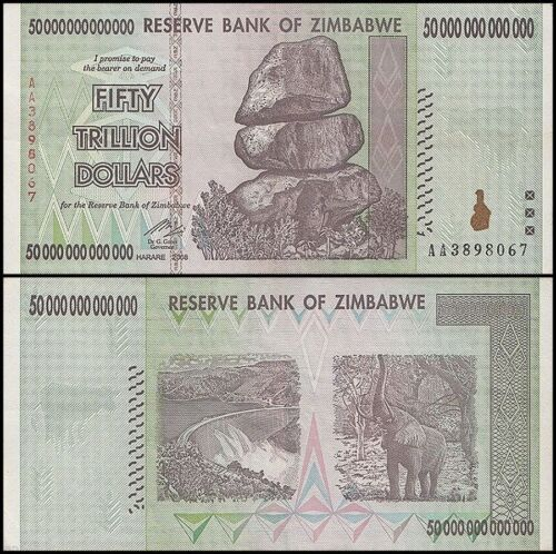 50 TRILLION ZIMBABWE DOLLAR MONEY CURRENCY. AU. Circulated.US SELLER.10 20 100
