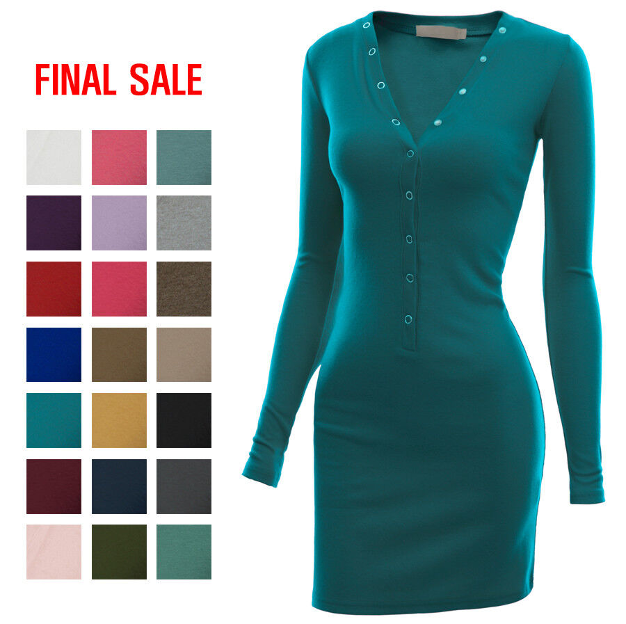 [FINAL SALE]DOUBLJU Womens Long Sleeve Henley Neck Stretch Casual Mini Dress