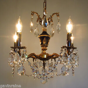 Antique Brass And Crystal Chandelier Ebay
