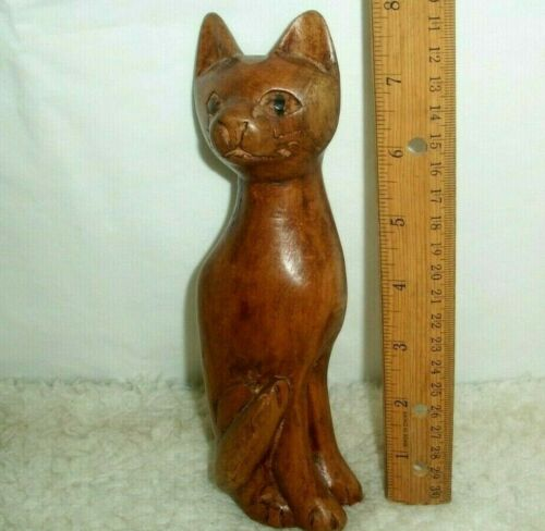 Cat Sculpture Hand Crafted Wood Carved Figurine Crazy Cat Lady Artsy Home Decor