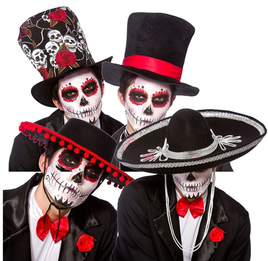 half off amazing price details for Details about Halloween Mexican DAY OF THE DEAD Hats Zombie Sugar Skull  Fancy Dress Mens Adult