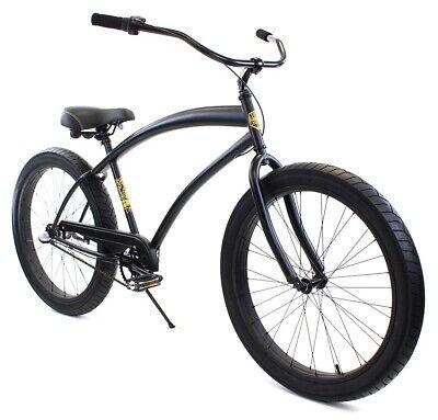 Zycle Fix Cobra Beach Cruiser 3 Speed Bicycle Bike Black Matte NEW Beach Bicycle Bike