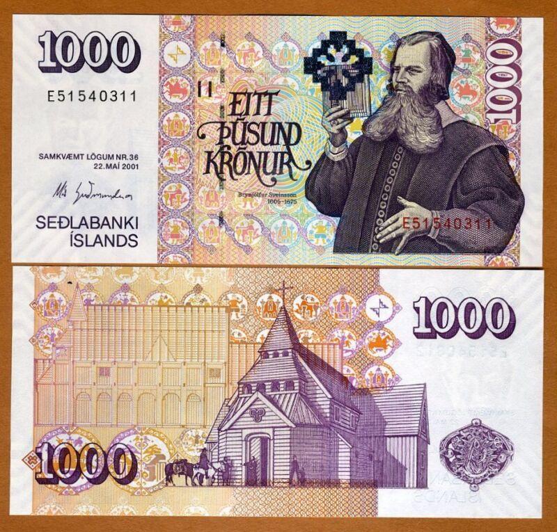Iceland, 1000 (1,000) Kronur 2001, Signature (2015) Pick 59-New UNC