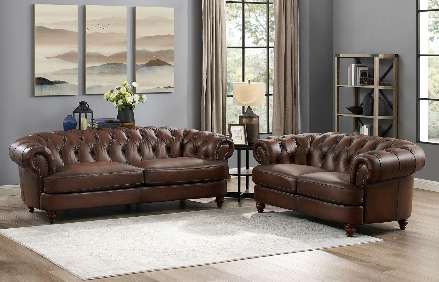 - Mario Top Grain Genuine Brown Leather Chesterfield Sofa Loveseat