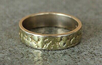 Vintage Solid 22K Alaska Gold Nugget on 14K Solid Gold Ring Band ~ Size 9 14k Solid Gold Nugget