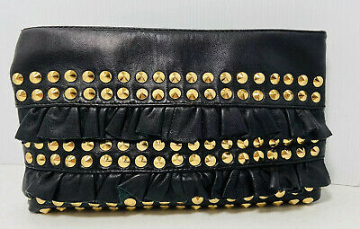 BETSEY JOHNSON STUDDED BLACK LEATHER SMALL CLUTCH HANDBAG