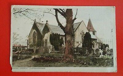 VINTAGE POSTCARD -  PARISH CHURCH, LLANSANFFRAID  - Early 1900's.