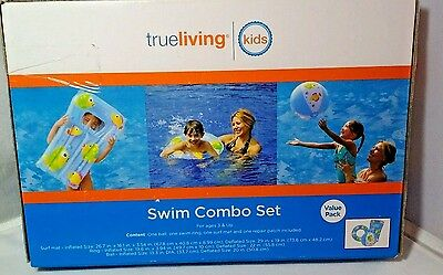 Swim Combo Set  Surf Mat Pool Ring Beach Ball  True Living  NEW 3 piece Surf-mat
