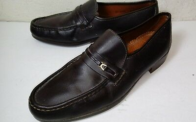 HILL & ARCHER Shoes size 10 1/2 D Brown Leather Loafer MADE IN ITALY 24 6238 Men