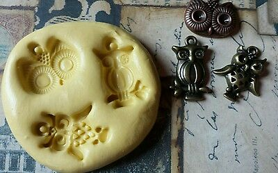 3 Part Steampunk OWLS Flexible Silicone Mold-polymer clay, wax, fondant, resin