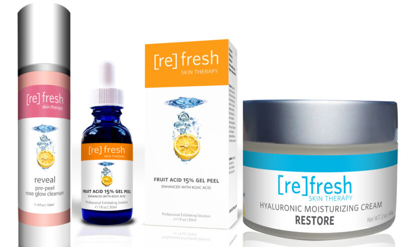Refresh Skin Peel Kit: Fruit Acid Peel, Deep Cleanser, Hyaluronic Moisturizer