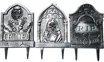 Gravestone Yard Stakes 3-Pack for Halloween (Skeleton, Grim Reaper, RIP ) - Gravestones For Halloween