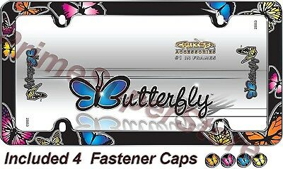 (Butterfly License Plate Frame Car auto Truck Chrome Color Tag Holder & Screw Cap)