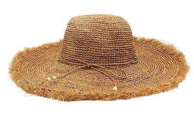 Tommy Bahama Womens Raffia Fringe Sun Hat, New Without Tags(Tea, One Size)