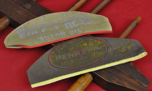 TWO Vintage Motor Oil and Lubes Gas Station Attendant Hats Pennzoil & Wolfs Head
