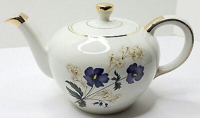 PRETTY ELLGREAVE ENGLAND Genuine Heatmaster TEAPOT Blue Flowers Gold TEA POT
