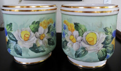 2 G&C antique porcelain cache pots, jardinieres, flower pots hand painted signed