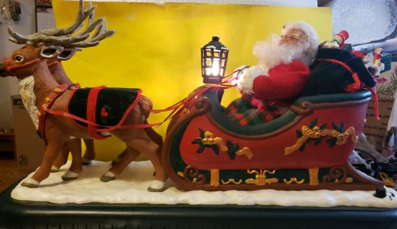 Vintage Holiday Creations Animated Musical Santa with Reindeer and Sleigh