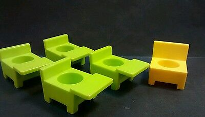 Vintage Fisher Price Little People School House Desks Teacher yellow green lot