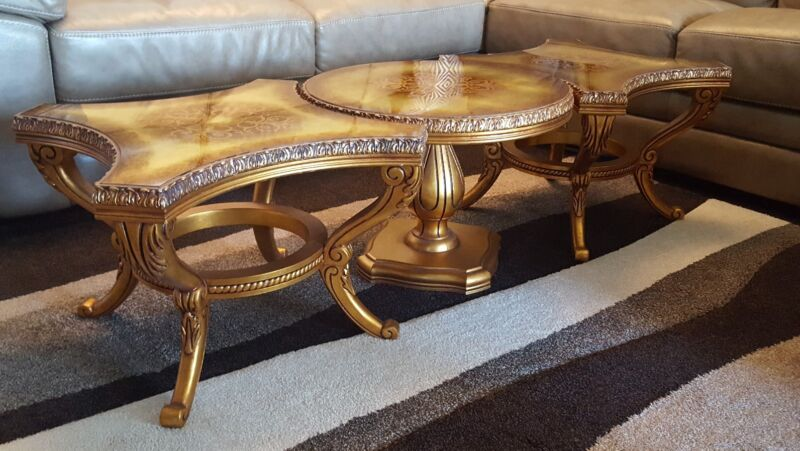 Vintage Hollywood Regency Gold Leaf Fitting Coffee & End Table Lot of 3