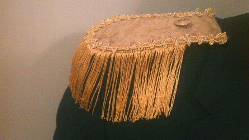 NEW 2 GOLD EPAULETTES STEAMPUNK PIRATE COSPLAY COSTUME LARP MILITARY  FRINGE