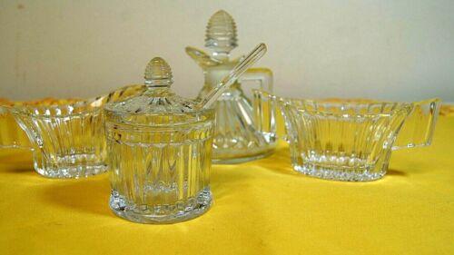 Vintage Heisey 4 pc Crystolite condiment set