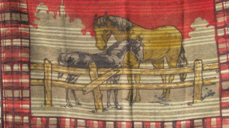 "ANTIQUE WOOL BUGGY CARRIAGE BLANKET MOHAIR HORSEHAIR 62""x47"" HORSES SCENE"
