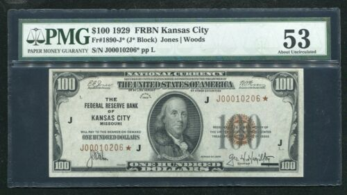 FR. 1890-J* 1929 $100 *STAR* FEDERAL RESERVE BANK NOTE KANSAS CITY, MO PMG AU-53