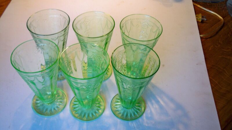 """Six Anchor Hocking Cameo Ballerina 6"""" footed cone tumblers excellent condition"""