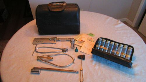 Vintage Schell Emdee Leather Doctor Bag With Medical Instruments