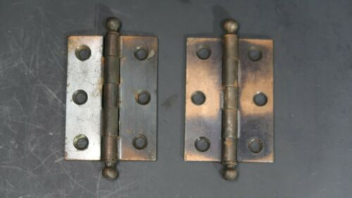 Lot of 2 Vintage Brass Plated Mortise Hinges Butt Hinges Ball Tip