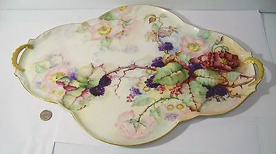 Antique Wild Roses and Blackberries Hand Painted Large Dresser Tray