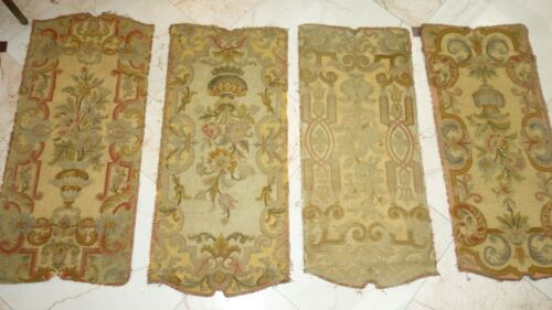 """FRENCH ANTIQUE NEEDLEPOINT PANELS 4 PCS. GORGEOUS, UPHOLSTERY,  WALLS, 42"""" Tall"""