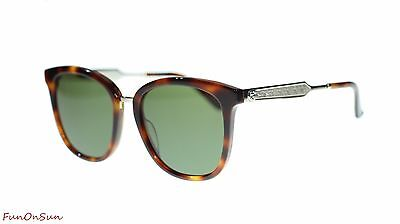 Gucci Square Sunglasses GG0073S 003 Havana Silver/Green Lens 55mm Authentic