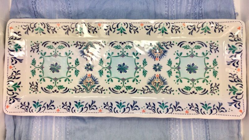 Patina Vie Melamine Tray NWOT Teal Coral Mint Blue Beautiful