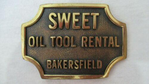 VINTAGE SOLID BRASS SWEET OIL TOOL RENTAL BAKERSFIELD OILFIELD BELT BUCKLE 1987