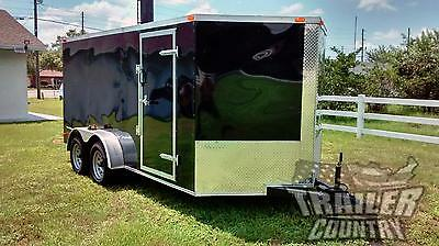 New 2021 7 X 14 7x14 V-nosed Enclosed Cargo Motorcycle Trailer Ramp Side Door