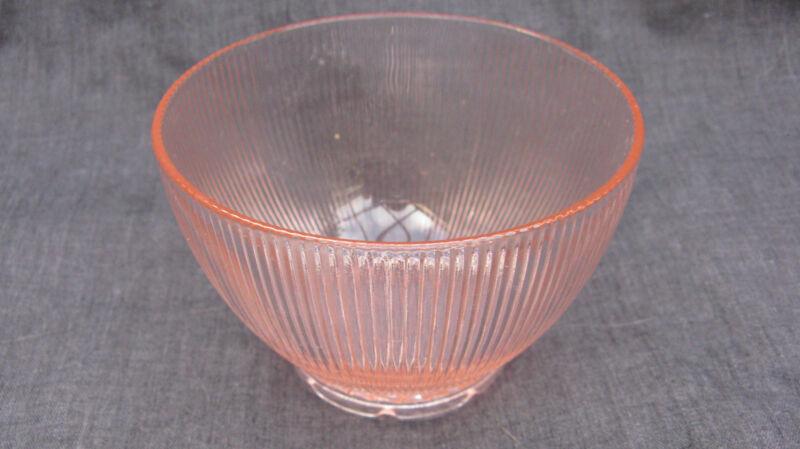 1939 Vintage Pink Depression Glass Homespun Fine Rib Low Flat Sherbet Sauce Bowl