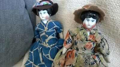 two sister antique china headed dolls. - Two Headed Sisters