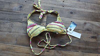 Rio Halter Bikini (ROXY Rio Halter Swim Bikini Top - Yellow Geo - Small - NWT)