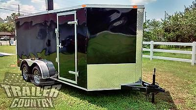 NEW 2018 7 x 16 7x16 V-Nosed Enclosed Cargo Motorcycle Trailer Ramp & Side Door