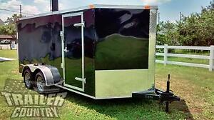 NEW 2019 7 x 16 7x16 V-Nosed Enclosed Cargo Motorcycle Trailer Ramp & Side Door