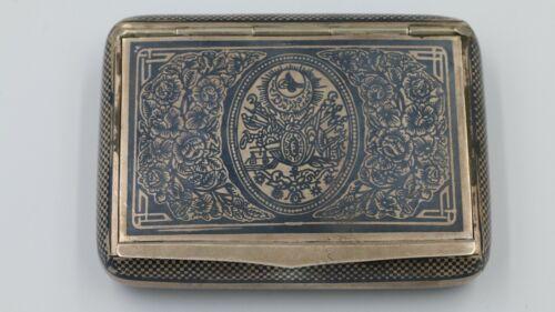 Turkey Ottoman Empire Coat Of Arms Niello Silver Cigarette Case Van marked