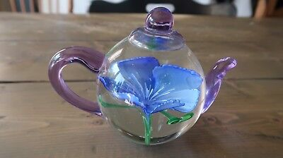 Glass Tea Pot Flower Paperweight Heirloom - Dynasty Gallery Handmade 5 inch