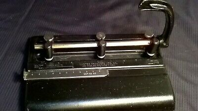Vintage 3 Hole Punch Master Products 325 B Metal W Cast Iron Handle  U.s.a