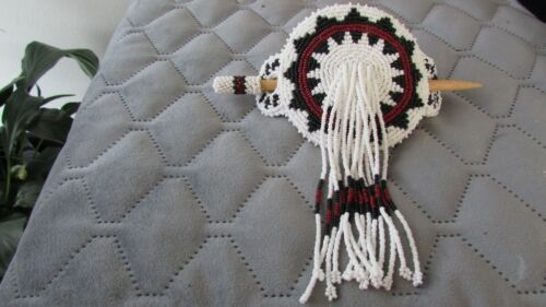 NEW NATIVE AMERICAN GLASS BEADED HAIR PIECE/BARRETTE HANDCRAFTED VERY NICE