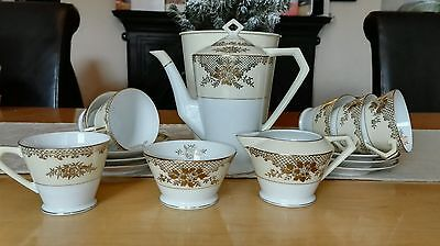 Noritake Coffee Set  15 Piece Immaculate Christmas Gold Cream White
