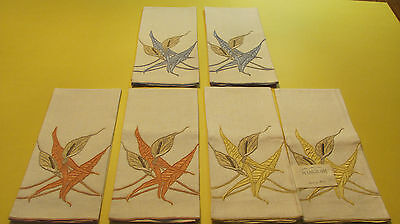 6 Vintage Marghab Madeira Embroidered Calla Lily Linen Hand Towels Unused NWT T1